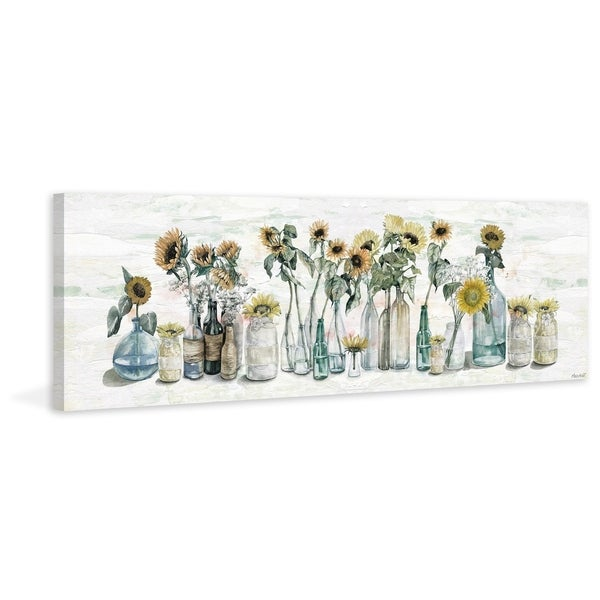 'Sunflower in Glass Vases' Painting Print on Wrapped Canvas