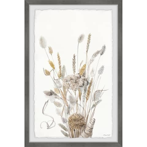 'Grey Flowers Bouquet' Framed Painting Print