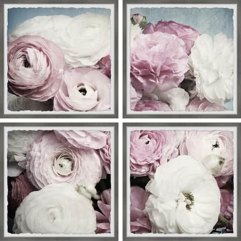 Copper Grove Pink and White Petals Quadriptych