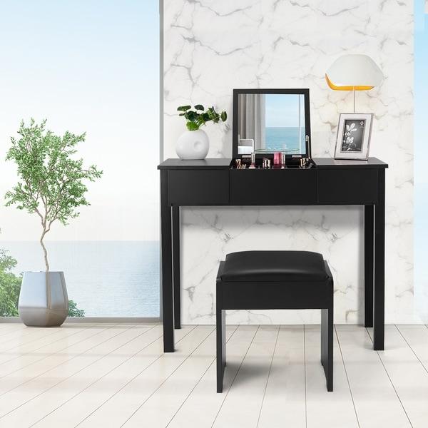 Vanity Table Set Flip Top Mirror Makeup Dresser Storage Box. Opens flyout.