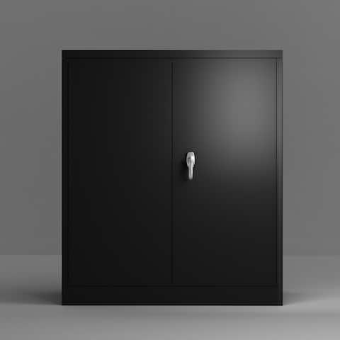 Merax Metal Storage Cabine with 2 Adjustable Shelves and Lockable Doors