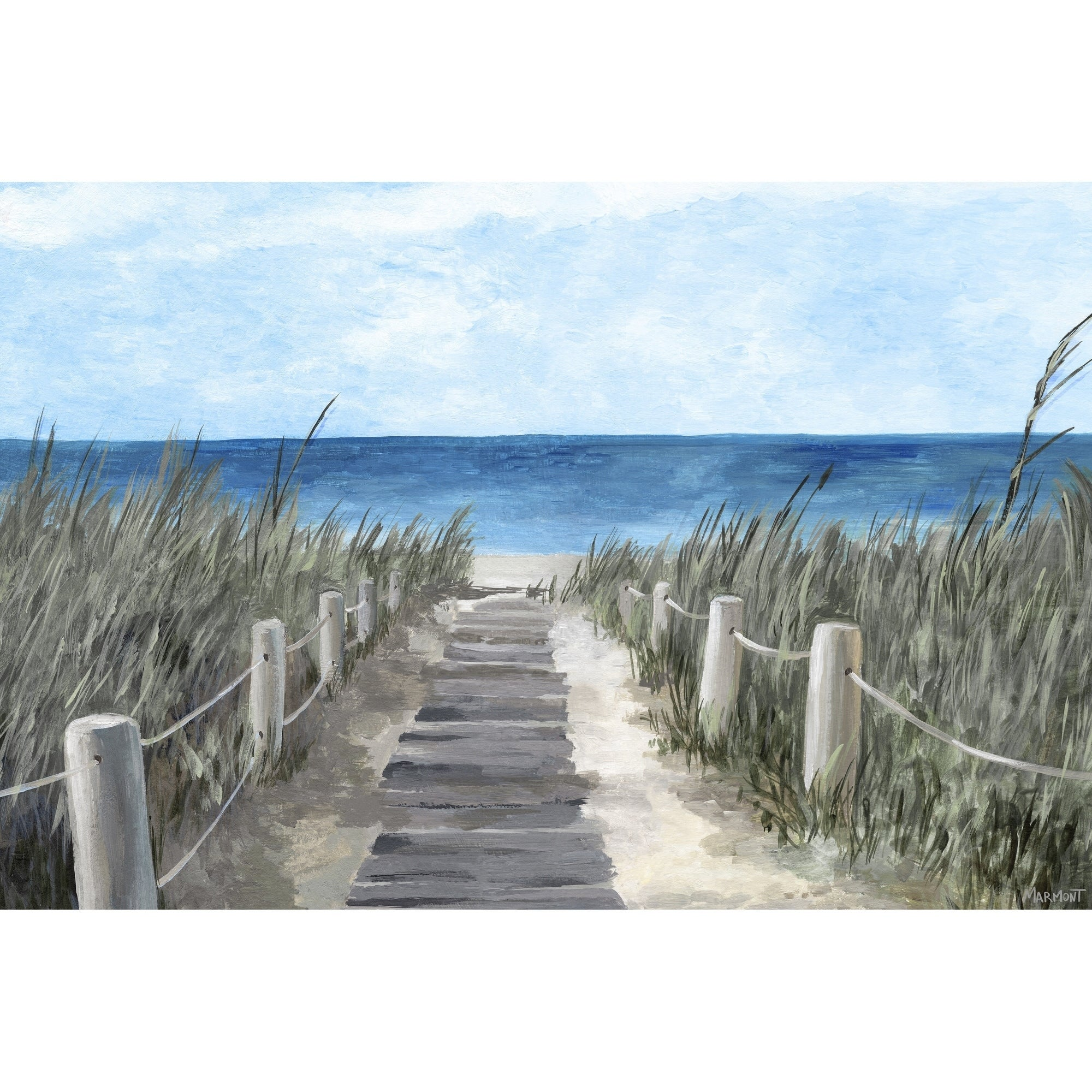 Beach Wood Path Painting Print On Wrapped Canvas Overstock 30243613