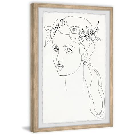 'Floral Crown Outline' Framed Painting Print