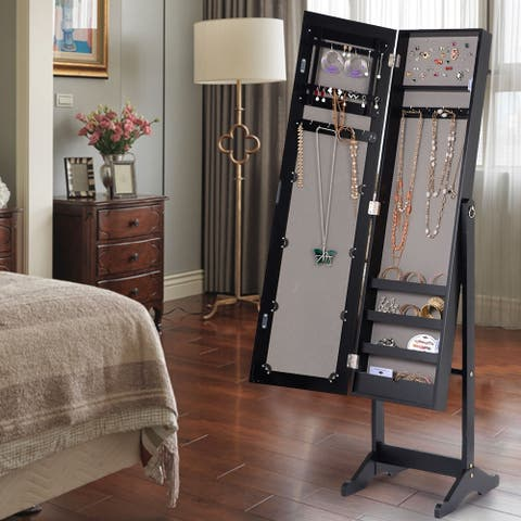 Copper Grove Newtown Jewelry Cabinet with LED Dressing Mirror (Black or White)