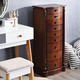 Link to Wooden Jewelry Armoire Mirrored Storage Organizer Drawers Similar Items in Bedroom Accents