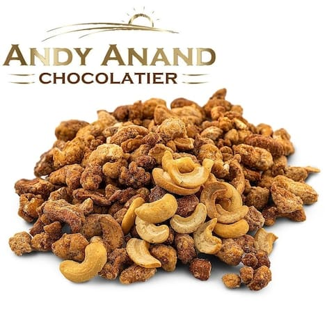 Andy Anand Honey Butter Roasted Toffee Cashews 1 lbs Gift Box & Greeting Card