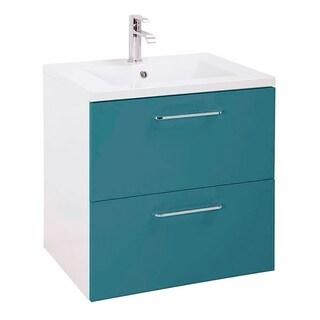 """24"""" Happy Modern Bathroom Vanity / Blue / 24 x 24 x 18 Inch Vanity, Ceramic Top and Mirror / 2 Drawers"""