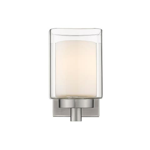 1-Light Bath Sconce Layered Clear and Frosted Glass Nickel Accent