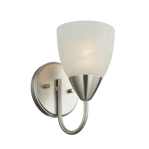 1-Light Bath Sconce Modern Etched Glass Nickel Accent