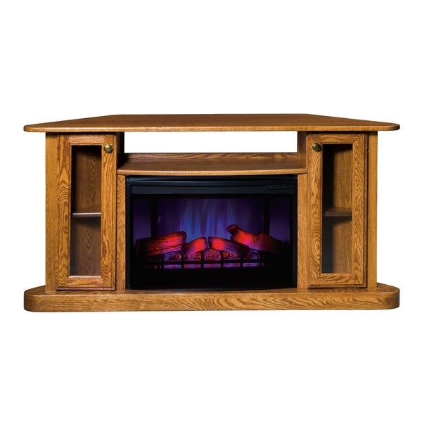 "Gordon 57"" Corner LED Fireplace with Shelf and Cabinets"