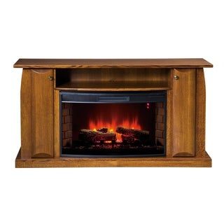"""Vienna 60"""" Curved LED Fireplace with Shelf and Cabinets"""