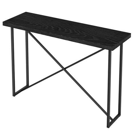 "48""Console table with a ebony oak finish and tubular graphite powder coated steel base"