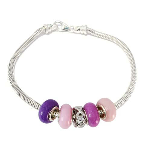 "Gems en Vogue Sterling Silver Cubic Zirconia ""XOXO"" Charm Bracelet with Pink & Purple Quartz Donuts"
