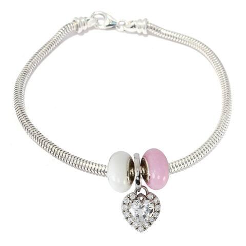 Gems en Vogue Sterling Silver Cubic Zirconia Heart Halo Charm Bracelet with Quartz Donuts