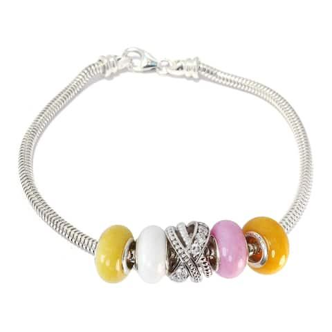 Gems en Vogue Sterling Silver Cubic Zirconia Bypass Slide-on Charm Bracelet Set with Five Multi Color Quartz Donuts