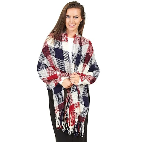 Rampage Boucle Plaid Wrap Blue Multi