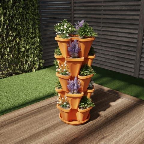 Porch & Den Novato Stacking Planter Tower (Set of 5)