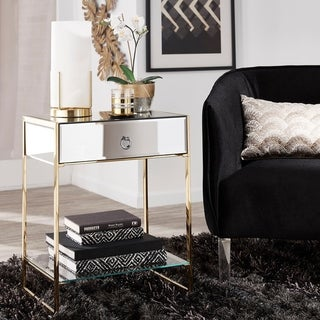 Moreland Gold Finish 1-Drawer Side Table by iNSPIRE Q Bold