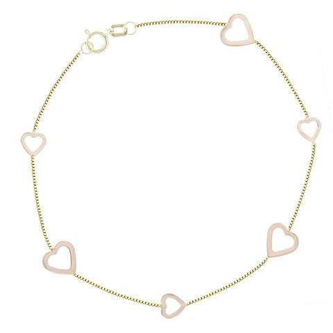 Curata 14k Yellow and Rose Gold Box Chain Bracelet R G Alternating Small Large Open Heart - 7.50 Inch