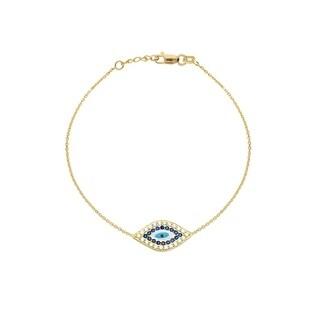 Link to Curata 14k Yellow Gold Side-ways Evil Eye Adjustable Bracelet - 7.50 Inch Similar Items in Bracelets