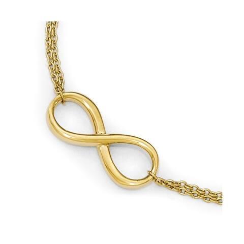 Curata 10k Yellow Gold Polished Infinity Bracelet - 7.5 Inch