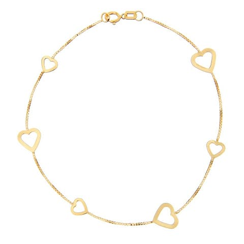 Curata 14k Yellow Gold Box Chain Alternating Small Large Open Heart Bracelet - 7.50 Inch