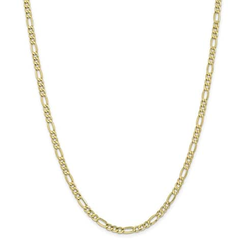 Curata 10k Yellow Gold Polished Lobster Claw Closure 4.75mmSemi-Solid Figaro Chain Bracelet - 7 Inch