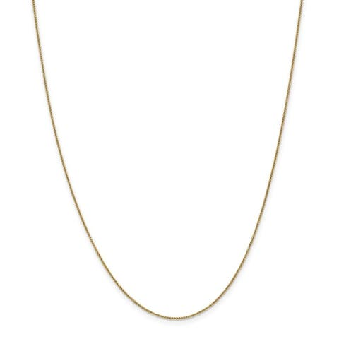 Curata 14k Yellow Gold Lobster Claw Closure .8mm Baby Wheat Chain Bracelet - 9 Inch
