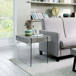 Strick & Bolton Rubi Concrete-look and Glass End Table