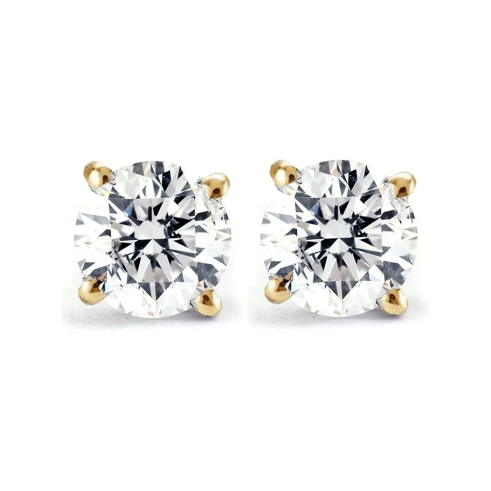 3 4ct Round Brilliant Natural Diamond Stud Earrings In 14k Yellow Gold Classic Setting Overstock 30245691