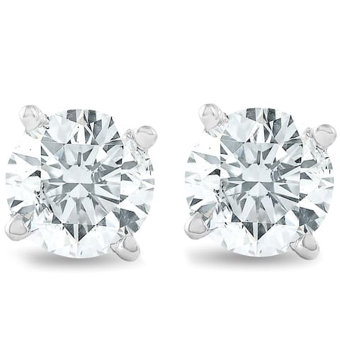 14k White Gold 3/4ct TDW Diamond Classic Stud Earrings
