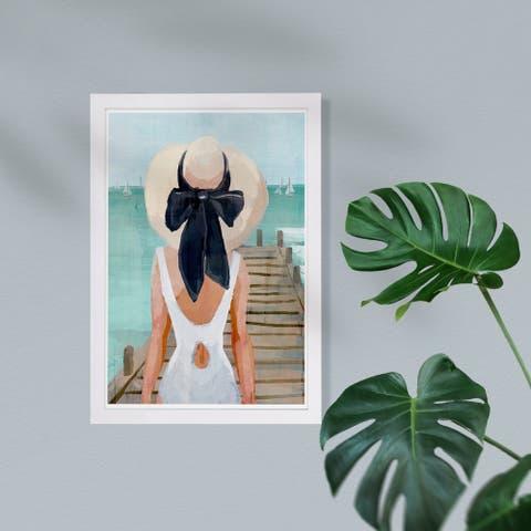 Wynwood Studio Nautical and Coastal Framed Wall Art Prints 'Seagreen Pier' Coastal Home Décor - Blue, Black - 13 x 19