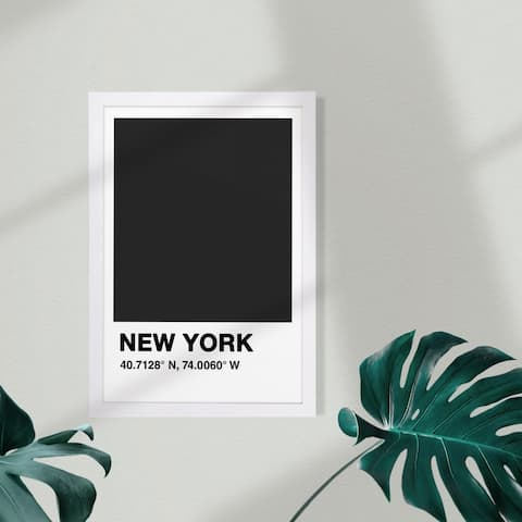 Wynwood Studio Cities and Skylines Framed Wall Art Prints 'New York Color Swatch' United States Cities Home Décor - Black, White