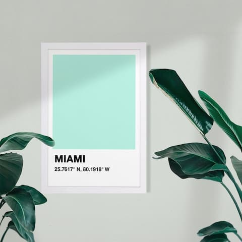 Wynwood Studio Cities and Skylines Framed Wall Art Prints 'Miami Color Swatch' United States Cities Home Décor - Blue, White