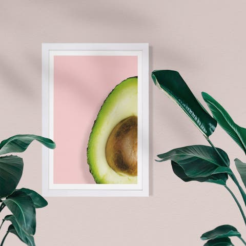 Wynwood Studio Food and Cuisine Framed Wall Art Prints 'Avocado Story' Fruits Home Décor - Pink, Green - 13 x 19