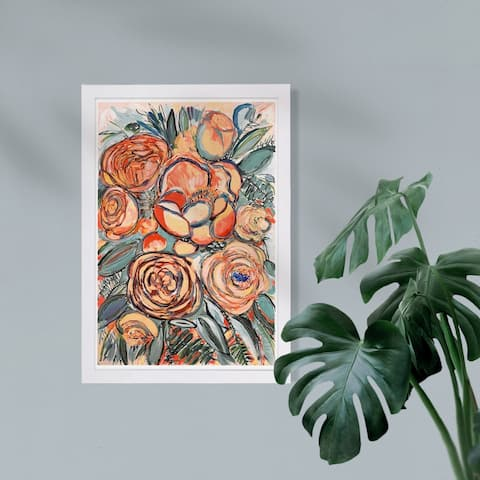 Wynwood Studio Floral and Botanical Framed Wall Art Prints 'Blessed Garden Sunset' Gardens Home Décor - Orange, Green - 13 x 19