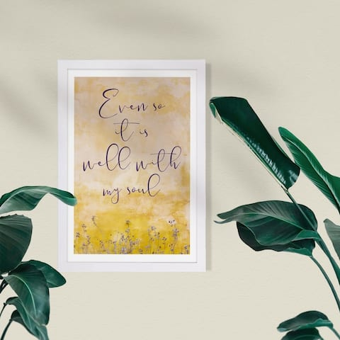 Wynwood Studio Typography and Quotes Framed Wall Art Prints 'Well With My Soul' Love Quotes and Sayings - Yellow, Purple