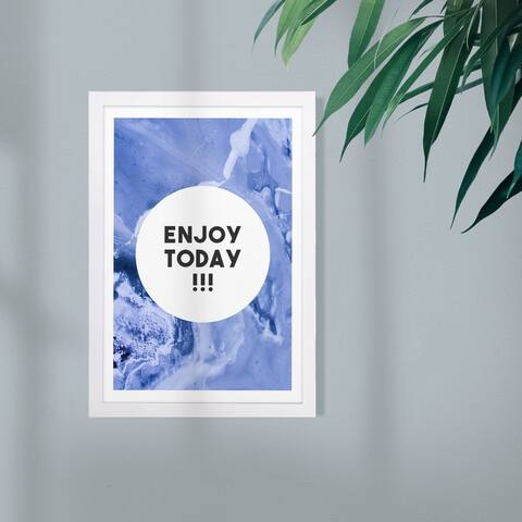 Wynwood Studio Typography and Quotes Framed Wall Art Prints 'Enjoy Today Blue' Inspirational Quotes and Sayings - Purple, Black