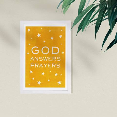 Wynwood Studio Typography and Quotes Framed Wall Art Prints 'God Answers Prayers Yellow' Inspirational quotes - Yellow, White