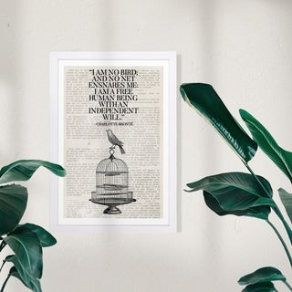 Wynwood Studio Typography and Quotes Framed Wall Art Prints 'A Free Bird' Inspirational Quotes and Sayings  - Black, White