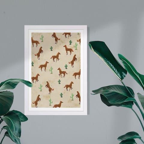 Wynwood Studio Animals Framed Wall Art Prints 'Horse Ranch' Farm Animals Home Décor - Brown, Green
