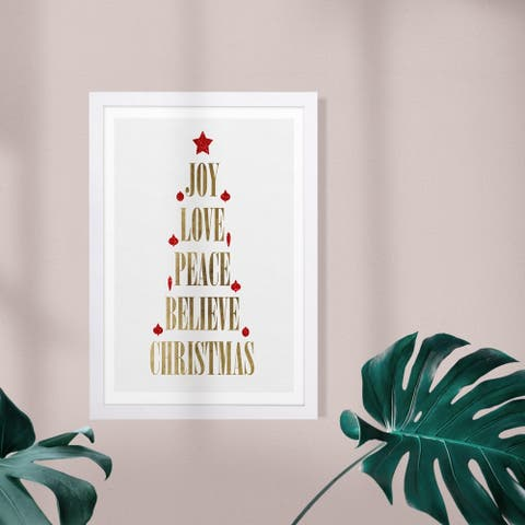 Wynwood Studio Holiday and Seasonal Framed Wall Art Prints 'Holiday Tree' Christmas Home Décor - Red, Gold - 13 x 19