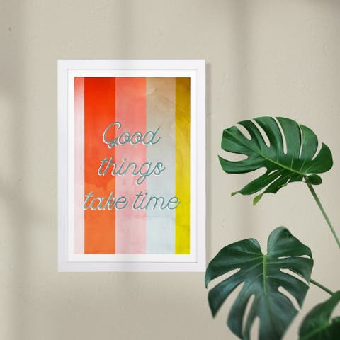 Wynwood Studio Typography and Quotes Framed Wall Art Prints 'Take Your Time' Motivational Quotes and Sayings - Orange, Blue