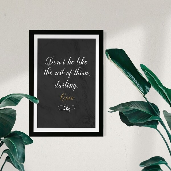 Wynwood Studio Typography and Quotes Framed Wall Art Prints 'Dont Be Like The Rest' Fashion Quotes and Sayings - Black, White