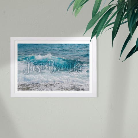 Wynwood Studio Typography and Quotes Framed Wall Art Prints 'Just Breathe' Inspirational Quotes and Sayings - Blue, White