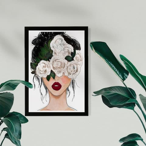 Wynwood Studio Fashion and Glam Framed Wall Art Prints 'White Roses Red Lips' Portraits Home Décor - White, Red - 13 x 19
