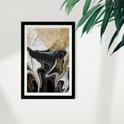 Wynwood Studio Abstract Framed Wall Art Prints 'Ripples In Gold' Crystals Home Décor - Gold, Black - 13 x 19