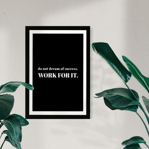 Wynwood Studio Typography and Quotes Framed Wall Art Prints 'Work For It' Motivational Quotes and Sayings - Black, White