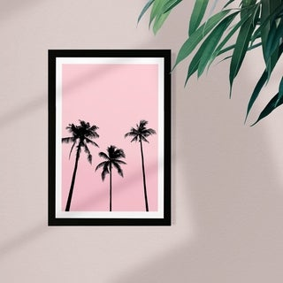 Wynwood Studio Floral and Botanical Framed Wall Art Prints 'Palms in California' Trees Home Décor - Pink, Black - 13 x 19