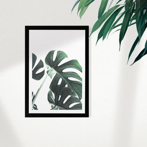 Wynwood Studio Floral and Botanical Framed Wall Art Prints 'Plant II' Botanicals Home Décor - Green, White - 13 x 19